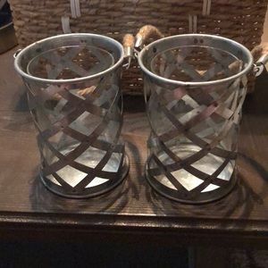 Other - Set of 2 metal and glass lanterns w/rope handle
